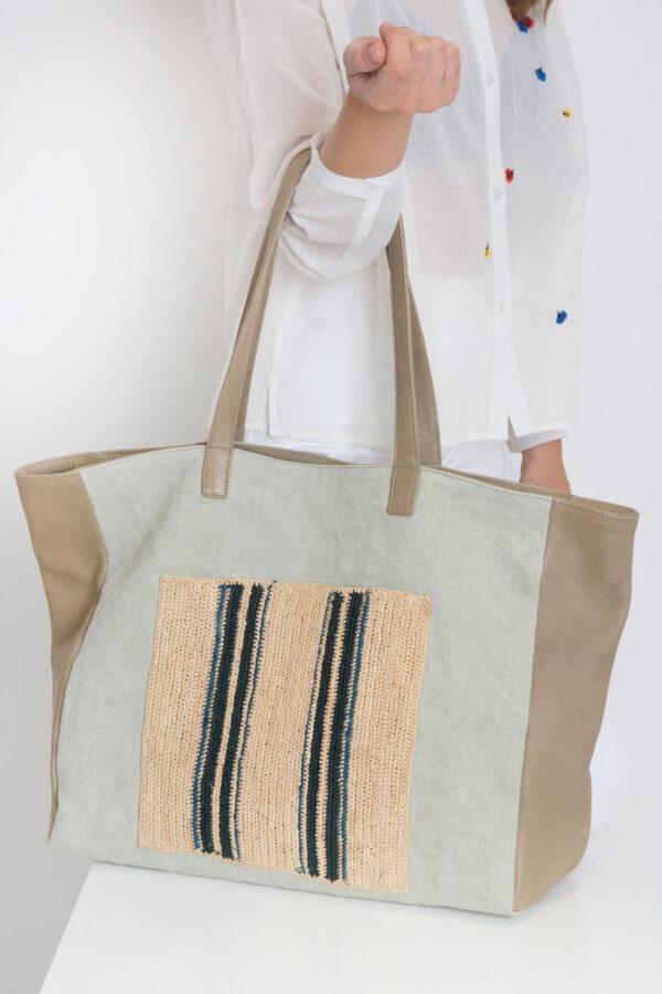 Yvonne-leather-handbag-raffia-canvas-claramonte-matchboxathens