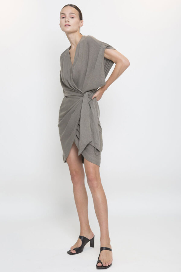 gidya-khaki-dress-iro-pris-wrap-matchboxathens