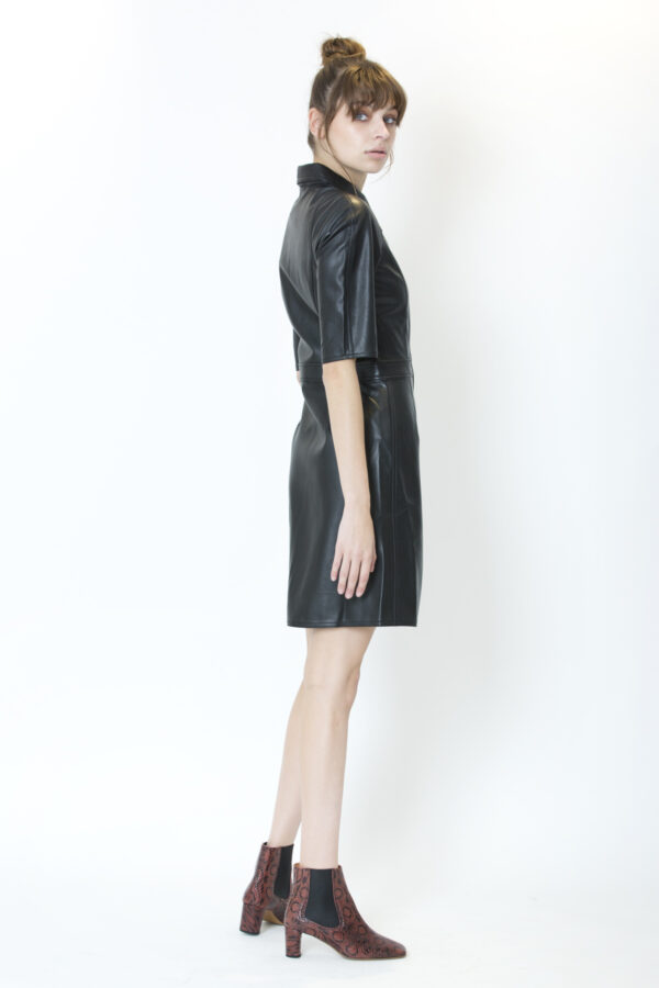carmella-dress-shirt-twist-tango-vegan-leather-black-matchboxathens