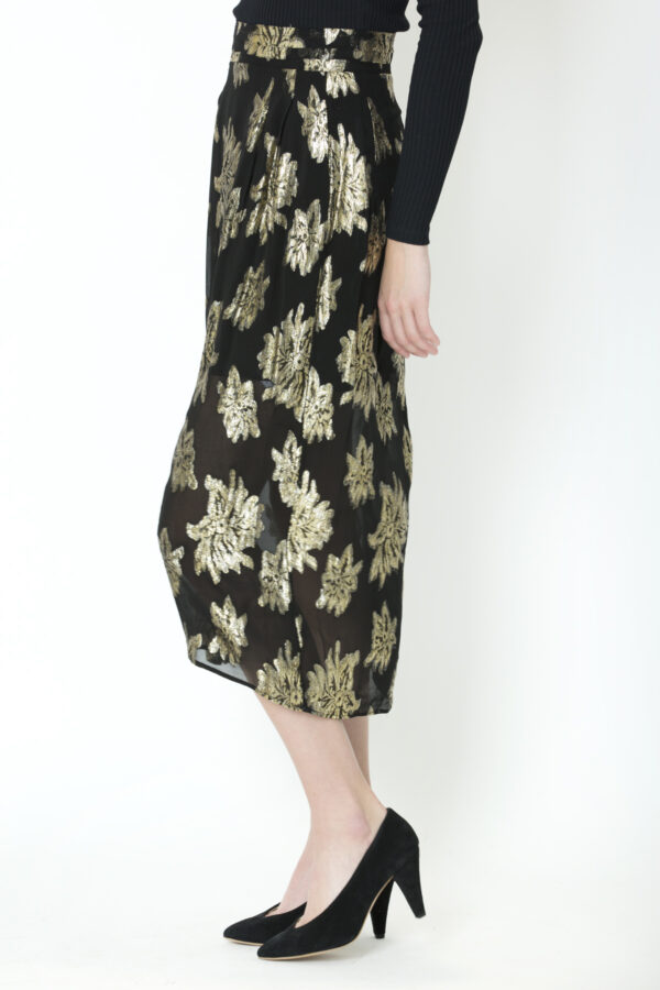 braina-skirt-highwaist-black-gold-floral-viscose-iro-matchboxathens