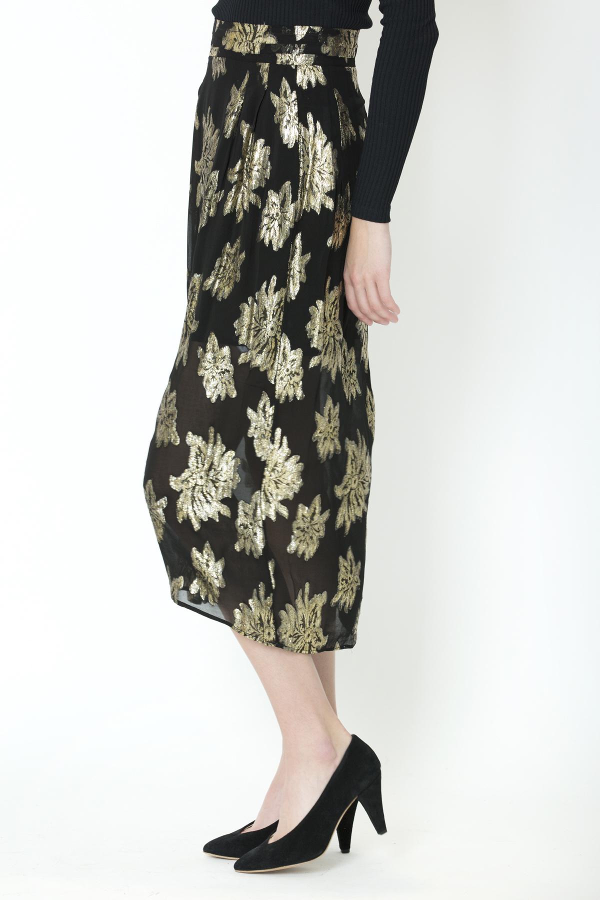 braina-skirt-highwaist-black-gold-floral-viscose-iro-matchboxathens