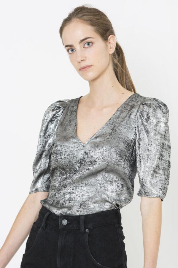 ally-silver-metallic-blouse-puff-sleeves-twist-tango-matchboxathens