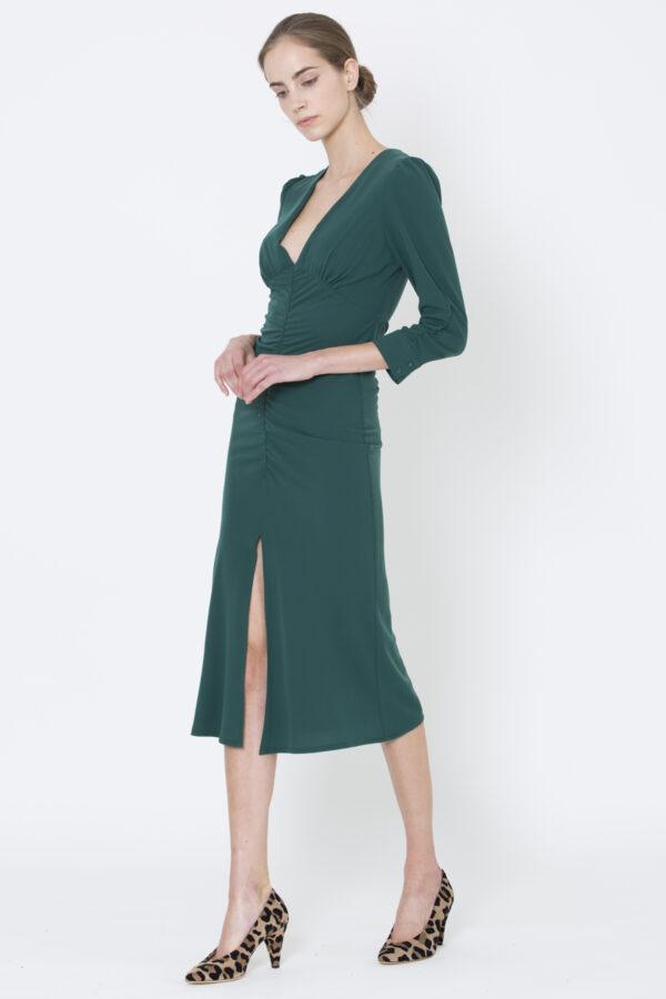 rita-draped-dress-green-uniforme-matchboxathens-chic-christmas-dinner