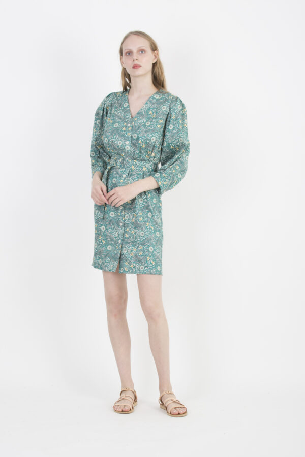 rayon-green-floral-dress-lapetitefrancaise-mini-puffy-sleeves-matchboxathens