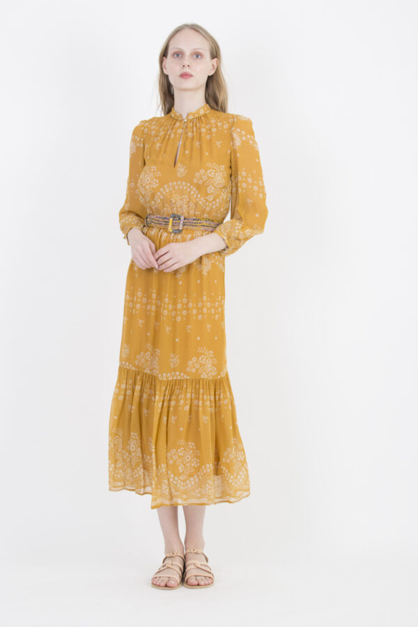 noisette-dress-orange-flower-print-bohemian-long-vanessa-bruno-matchboxathens