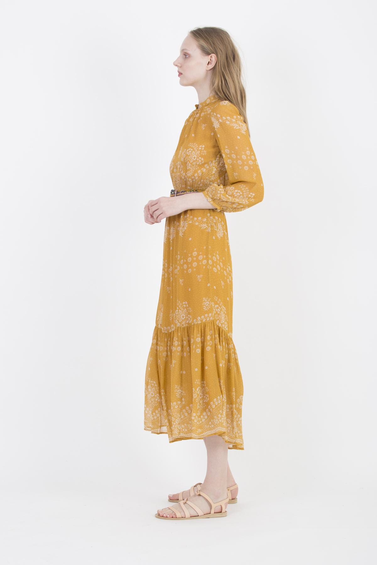 noisette-dress-orange-flower-print-bohemian-long-vanessa-bruno-matchboxathens