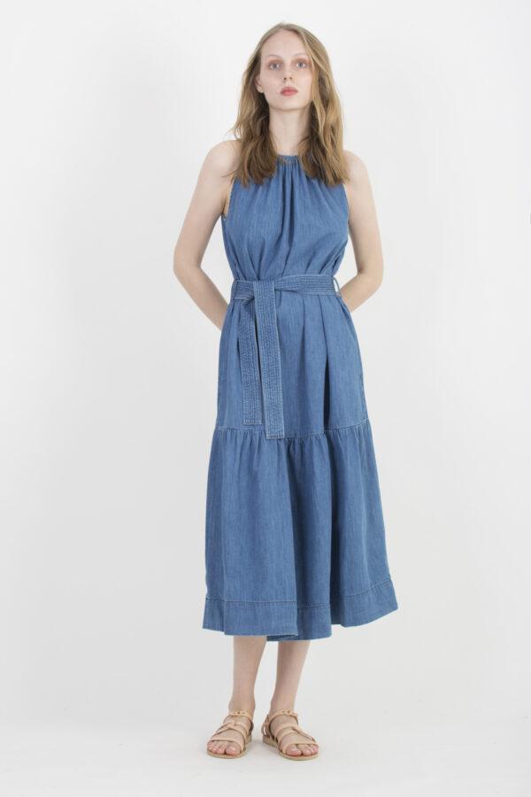 romelia-denim-dress-ruffle-fluid-cotton-vanessa-bruno-matchboxathens