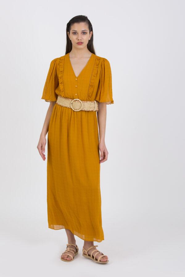 resana-orange-mustard-dress-silk-long-vanessa-bruno-matchboxathens