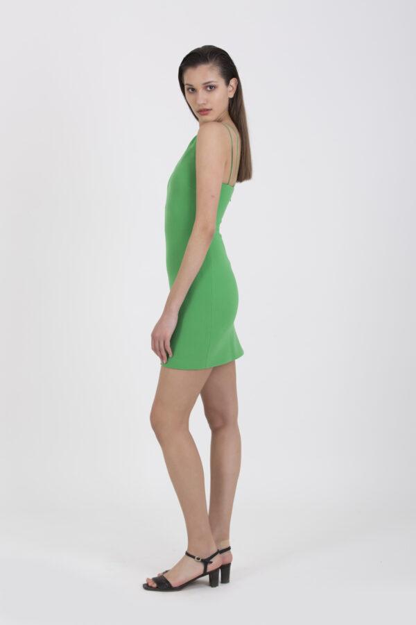 emerald-mini-dress-bec-bridge-asymetric-neckline-matchboxathens