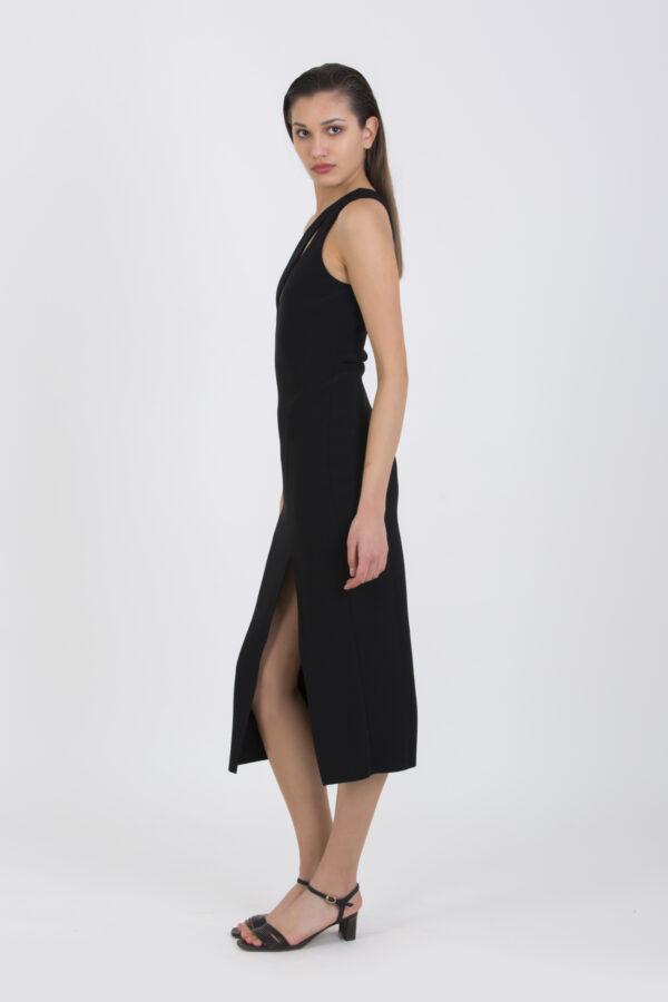 emerald-black-midi-dress-cut-out-asymmetric-bec-bridge-matchboxathens