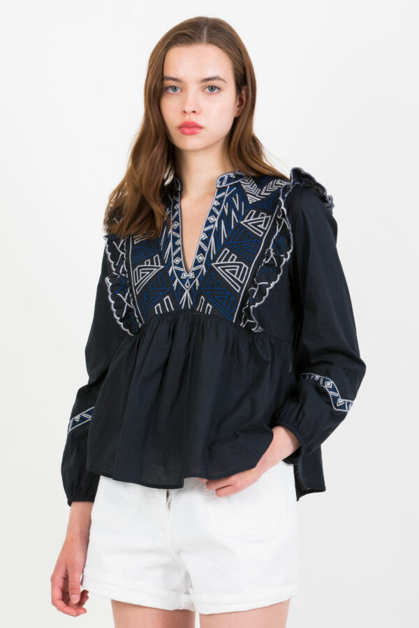 tulsi-blouse-embroidered-frilled-berenice-blue-matchboxathens