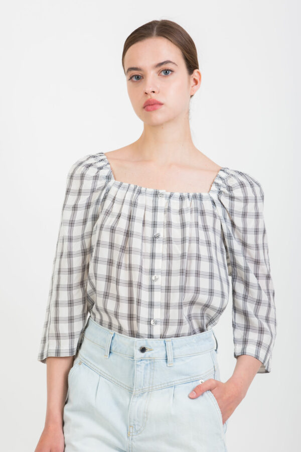 leo-checked-blouse-square-collar-fluid-suncoo-matchboxathens