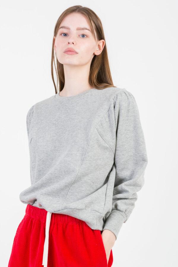 sam-sweatshirt-suncoo-grey-pleated-sleeves-matchboxathens