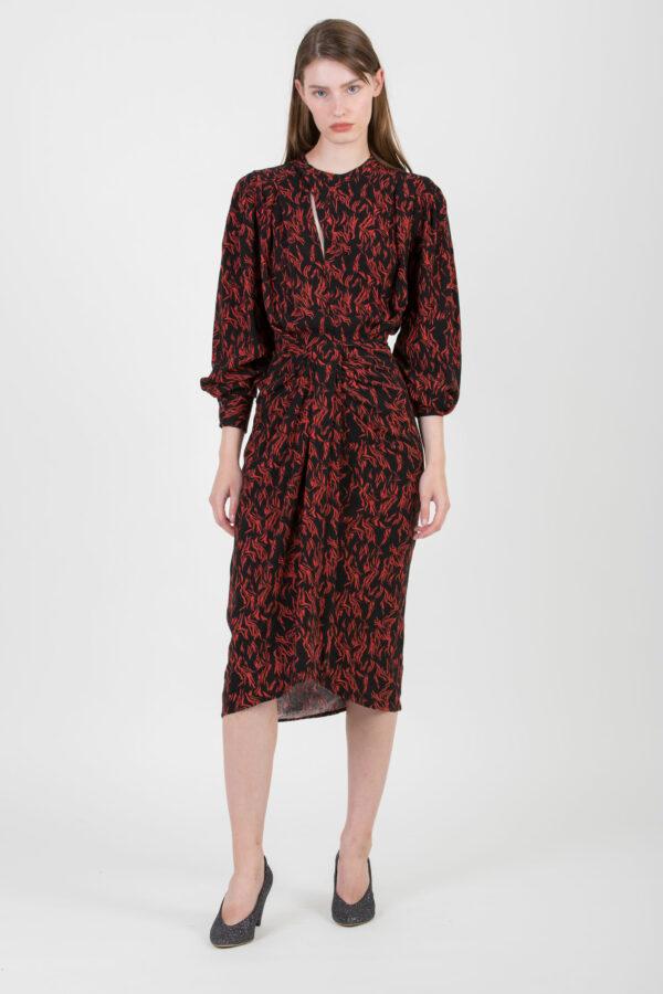 yakin-dress-midi-drape-viscose-black-red-iro-matchboxathens