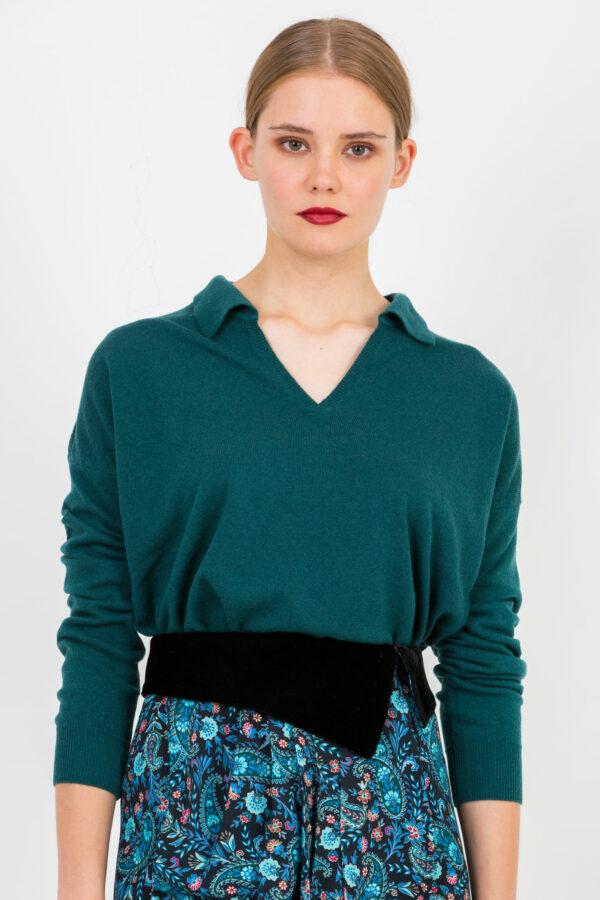 mebbir-dark-green-vneck-wool-sweate-crossley-matchboxathens