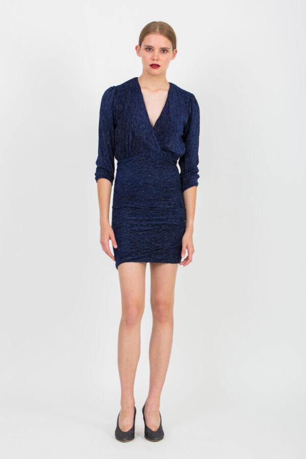 donna-dark-blue-shiny-dress-mini-elastic-uniformeathens-matchboxathens